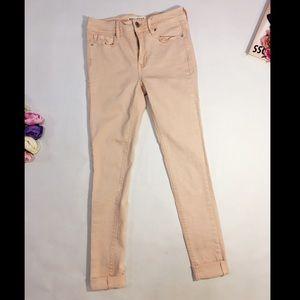 Bullhead pink beige high rise skinny jeans size 3